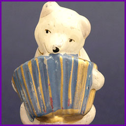 Antique Christmas ornament BEAR with ACCORDION