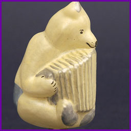Antique Christmas ornament BEAR PLAYING ACCORDION