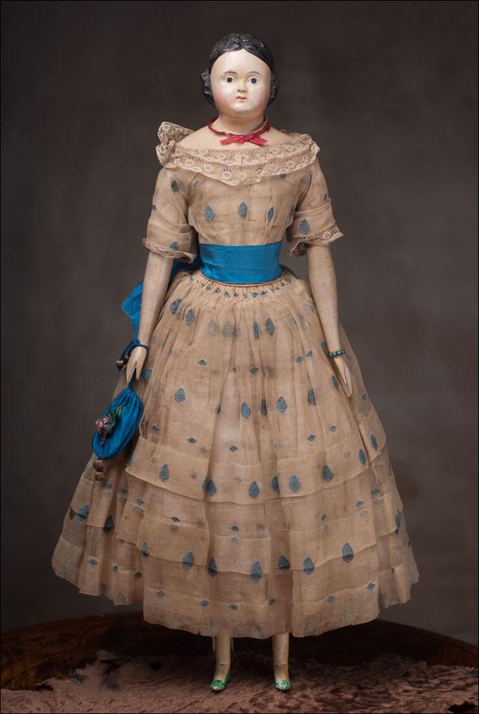 Немецкая модная кукла 1840 года - полностью во всем оригинальном!