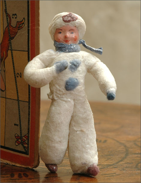 Antique cotton Christmas ornament BOY IN WINTER DRESS