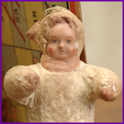 Antique Christmas cotton ornament GIRL