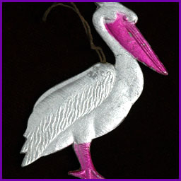 Antique Dresden Christmas ornament PELICAN