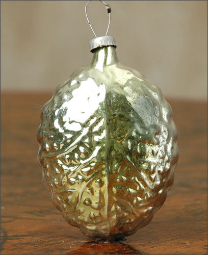 Antique Christmas ornament BUTTERFLY on LEAF