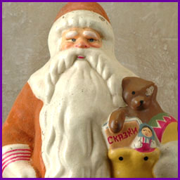 Antique Christmas paper mache figure of SANTA