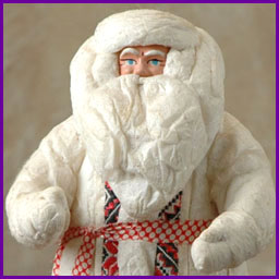 Antique Christmas cotton & paper mache SANTA figure