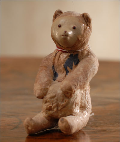 Antique Christmas cotton ornament BEAR with BALL