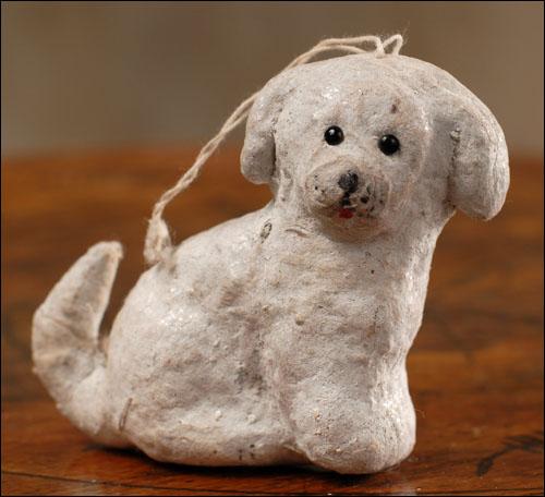Antique Christmas cotton ornament PUPPY DOG