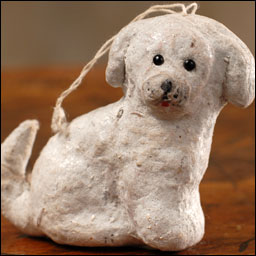 Antique Christmas cotton ornament PUPPY DOG