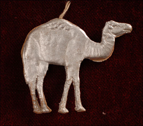 Antique Christmas Dresden ornament CAMEL