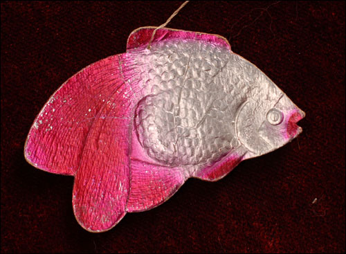 Antique Dresden Christmas ornament FISH