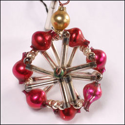 Antique beaded glass Christmas ornament WHEEL