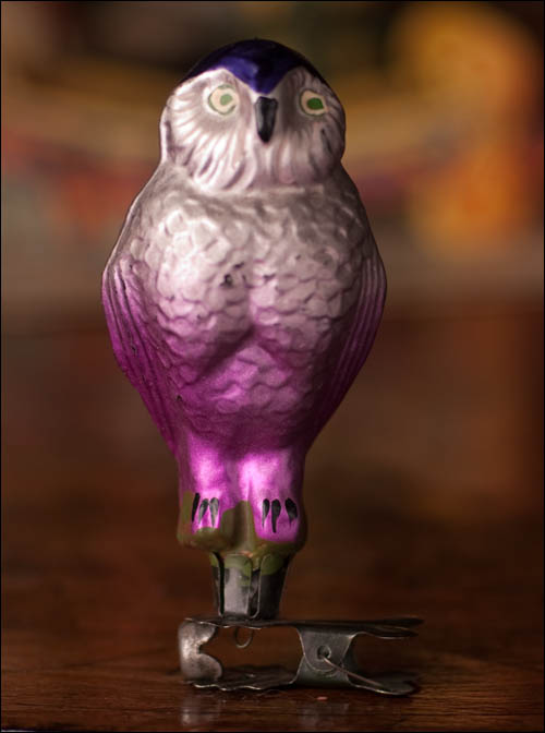 Antique Christmas ornament EAGLE OWL