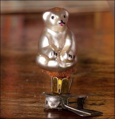 Antique miniature Christmas ornament BEAR
