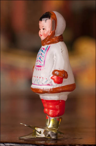 Antique Christmas ornament ESKIMO BOY