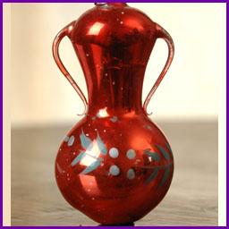 Antique Christmas blown glass ornament VASE