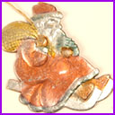 Old Dresden Christmas ornament SANTA on SLEDGE