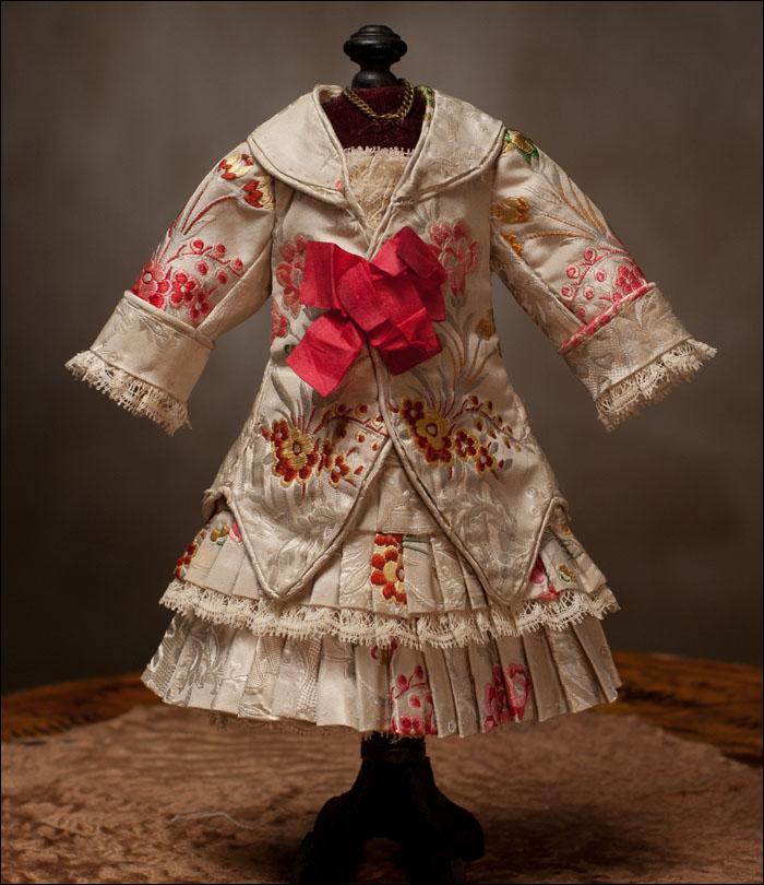 Костюм из шелка для французской антикварной куклы Bebe 30-32 см
