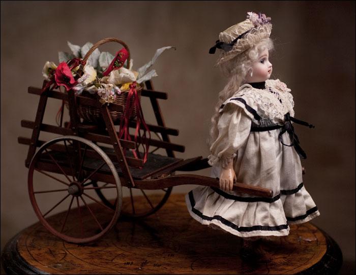 Французский автомат - механическая кукла JUMEAU с повозкой, 1890-е годы