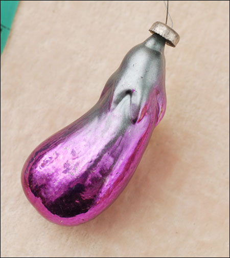 Antique Christmas ornament EGGPLANT
