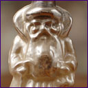 Antique silver glass Christmas ornament SANTA