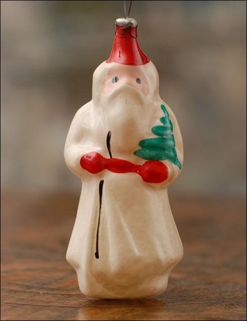 Antique glass Christmas ornament SANTA