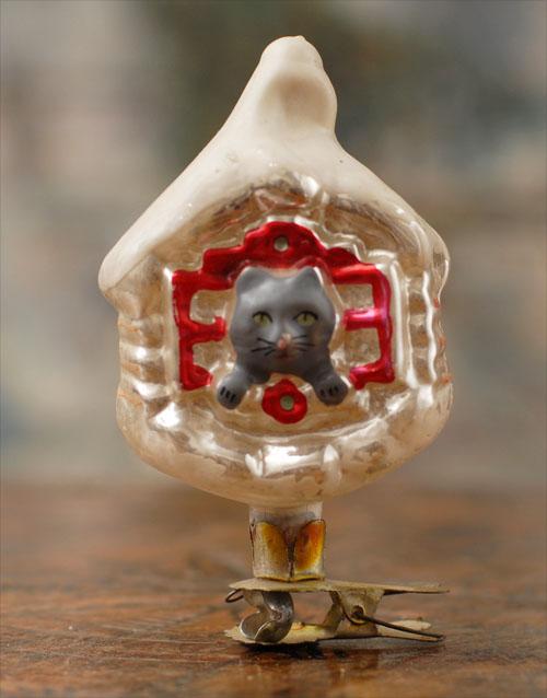 Antique Christmas ornament HUT OF CAT