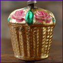 Antique Christmas ornament BASKET WITH FLOWERS