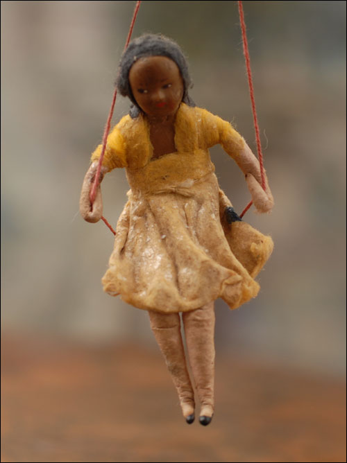 Early cotton Christmas ornament GIRL ON SWING