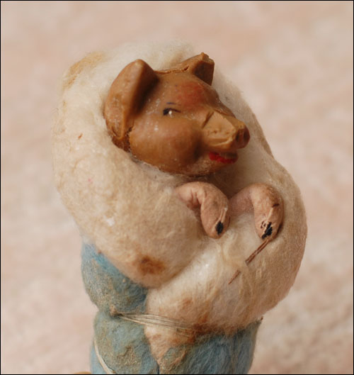 Antique Christmas ornament SWADDLED PIGLET