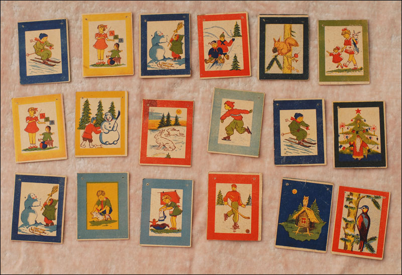 Antique glass decoration for Christmas tree - Set of PAPER FLAGS, 18pcs