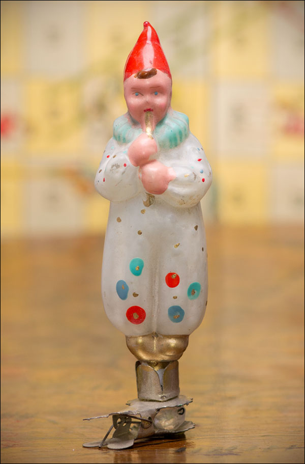 Antique Christmas ornament CLOWN WTH FLUTE