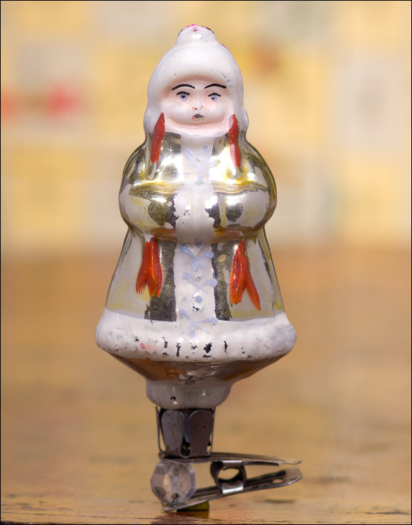 Antique Christmas ornament GIRL IN WINTER DRESS