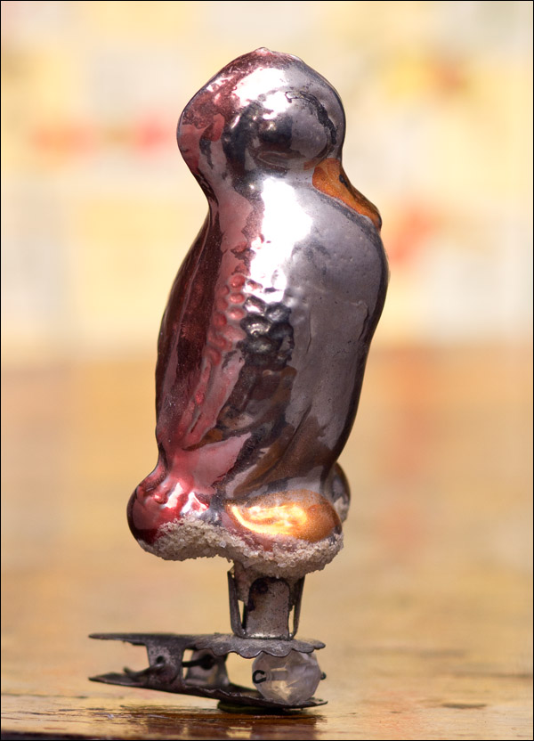 Antique silver glass Christmas ornament DUCK