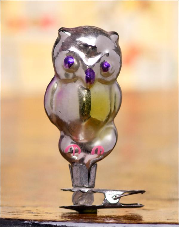 Antique silver Christmas ornament OWL