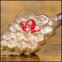 Antique glass Christmas ornament BEE ON HONEYCOMBS