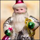 Antique Christmas silver glass ornament SANTA