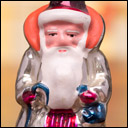 Antique Christmas silver glass ornament of SANTA