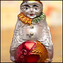 Antique German Christmas ornament CLOWN ON COMET