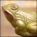 Antique German glass Christmas ornament FROG