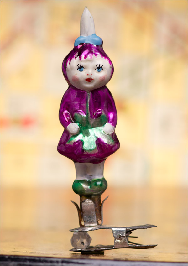 Antique Christmas ornament CHERRY GIRL from Cippolino tale