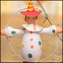 Antique cotton Christmas ornament CLOWN WITH HOOP