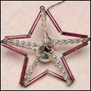 Antique beaded glass Christmas ornament RED STAR