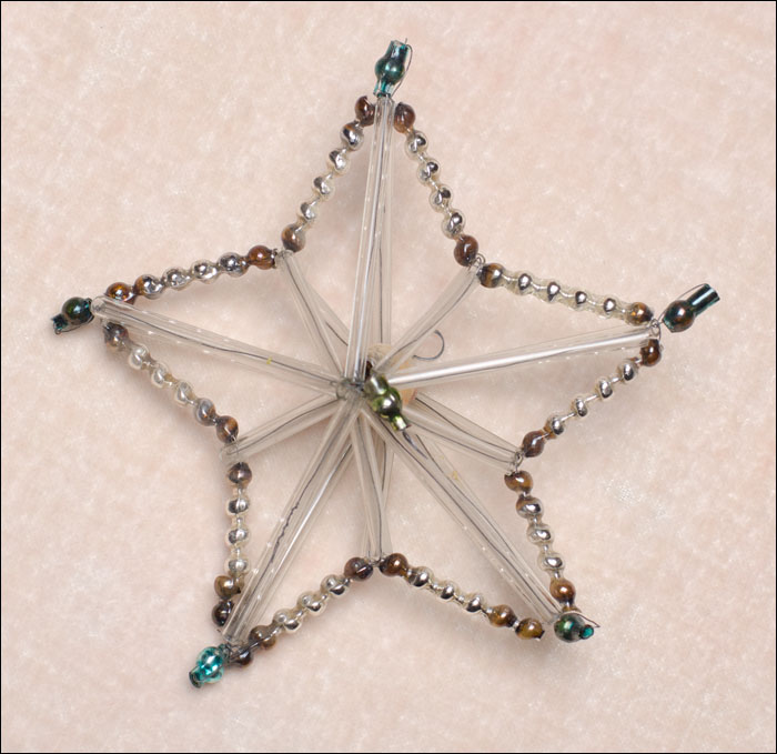 Antique beaded glass Christmas ornament STAR