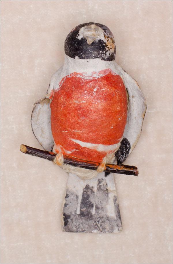 Antique cotton Christmas ornament BULLFINCH
