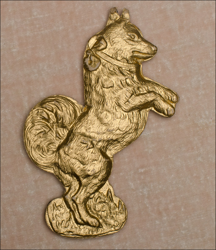 Antique Dresden Christmas ornament BEGGING DOG