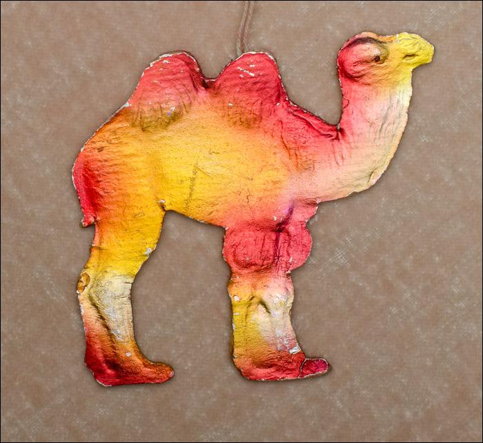 Vintage Dresden Christmas ornament CAMEL