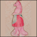 Vintage Dresden Christmas ornament FOX IN APRON