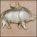 Vintage Dresden Christmas ornament BOAR