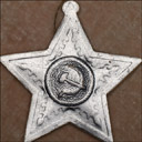 Vintage Dresden Christmas ornament STAR WITH HAMMER & SICKLE