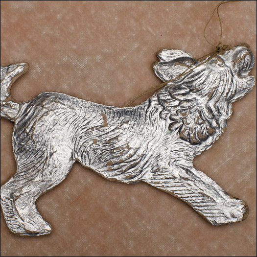Vintage Dresden Christmas ornament BARKING DOG